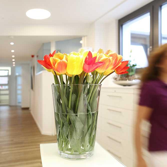 Zahnärzte Reutlingen - Gössel - Tulpen am Empfang der Praxis